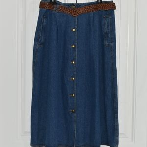 38b65e46f1a Alfred Dunner Skirts - Long Jean Skirt With Brown Woven Belt Size 20